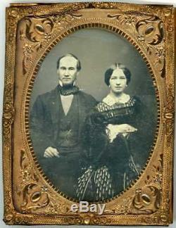 1860's 1/4 Plate Ambro CIVIL War Union Officer Sword- Man & Woman Daguerreotype