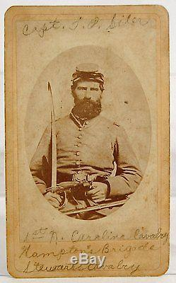 1860's CIVIL WAR CDV PHOTOGRAPH OF CONFEDERATE DOUBLE ARMED CAVALRY OFFICER