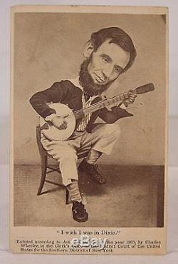 1860's CIVIL WAR CDV PHOTO POLITICAL CARTOON ABRAHAM LINCOLN PLAYING THE BANJO