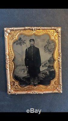 1860's Tintype Civil War Soldier Encampment Cannons Backdrop Springfield Rifle