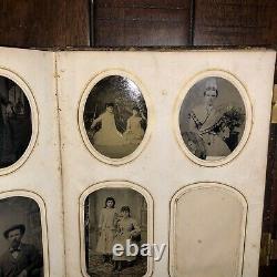 1860s Antique Photo Album Silver Lake Indiana CDV & Tintype Civil War Tax Stamps