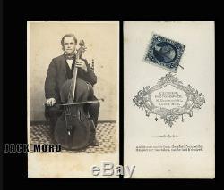 1860s CDV Music Photo Boston Musician Cellist Playing Cello Civil War Tax Stamp