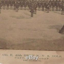 1860s CIVIL WAR ERA ALBUMEN PHOTO CAPT COAN & 48TH NEW YORK INF FT PULASKI GA