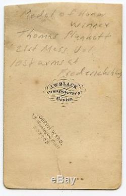 1860s CIVIL WAR Sgt THOMAS PLUNKETT 21st MA awarded MOH GREAT Pose w FLAG