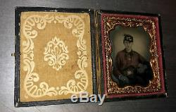 1860s Photo Civil War Soldier Tinted Red Shirt Feather Carolina Belt Buckle