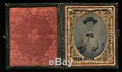 1860s Tintype Photo Armed Confederate Civil War Soldier