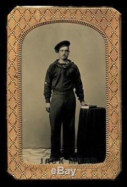 1860s Tintype Photo Handsome Civil War Sailor Gold HOOP EARRINGS Excellent