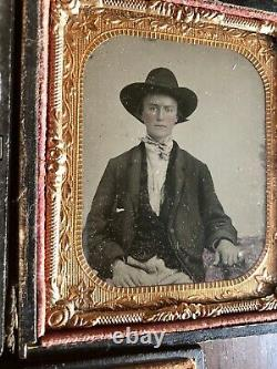 1860s Tintype Photos ID'd Civil War Soldier & Wife Missouri or Arkansas