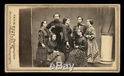 1860s cdv group photo civil war sailors & women w ring & wand exercise equipment