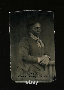 1860s tintype photo african american woman / civil war era antique 1800s vtg