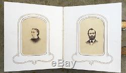 1863 ANTIQUE PHOTO ALBUM w 30 CABINET CARDS CIVIL WAR ERA 19TH CENTURY & Stamps
