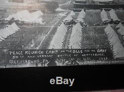 1913 GAR Civil War Peace Reunion Camp Gettysburg Panoramic Photo on Wood