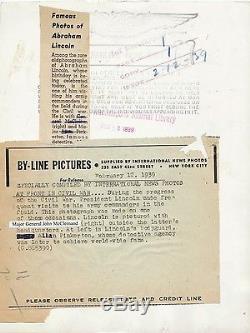 1939 PRESIDENT ABRAHAM LINCOLN (Civil War)TYPE 2 Vintage Photo Mathew Brady RARE