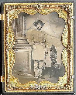 1/2 Plate Rees Ambrotype Armed Confederate Civil War Soldier Lt Colonel ID'ed