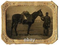 1/4 CIVIL War Outdoor Tintype Soldier & Horse Open Flat Field Tents Encampment