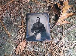1/4 Plate Tin Type of Civil War Soldier holding cap and seated