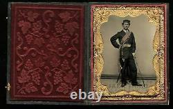 1/4 Tintype Photo Armed Civil War Soldier Sword Tinted Officer of the Day Sash