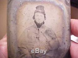 1/6 Ambro Civil War Soldier Photograph CONFEDERATE in Grey Overcoat Floppy Kepi