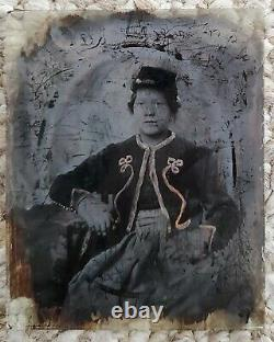 1/6 Ambrotype Civil War Zouave Soldier Antique Photo Old Picture Full Case