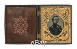 1/6 Plate Civil War Tintype Proud Yankee Lieutenant Full Case (Berg 2-19)