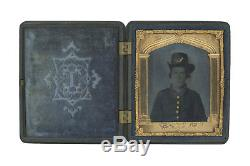 1/6 Plate Civil War Tintype of New York Soldier Wearing Hardee Hat Berg 3-182