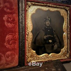 1/6 tintype photo armed civil war soldier holding gun painted gold buttons