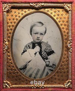 1/9 Plate Ruby Ambrotype CIVIL War Era Boy Holding American Flag & An Apple