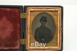 1/9th Ambrotype Photograph Young Ethnic Civil War Soldier Armed Knife in Case