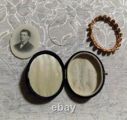 2 Antique Opalotype Milk Glass Photo Young Man Civil War Era Velvet Case c1867