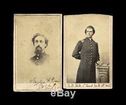 (2) CDV Photos ID'd Civil War Soldiers 18th Michigan Infantry Both POW & WIA