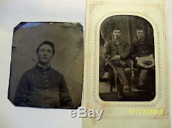 2 Original CIVIL War Tintypes Confederate Cavalrymen In Sack Coats & Sgl Soldier