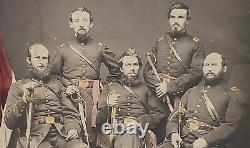 5 Civil War Union Officers Soldiers Photo Swords Hand Tinted Original 8 x 10