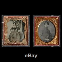 6th Pl Purple Glass Ambrotypes Civil War PA Soldier ID'ed Wife Union Army Flag