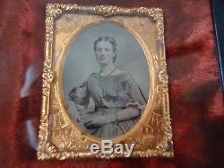 9th. P. Rare Civil War Era Woman in Patriotic Frame 4/12X 5Velvet wall Frame