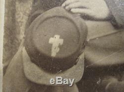 ANTIQUE CIVIL WAR 6th CORPS BADGE 10th MA NJ or PA SOLDIER CROSS KEPI CDV PHOTO