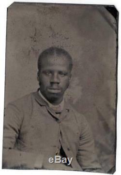 African Slave Antique Tintype Photograph / CIVIL War / Black Americana Slavery