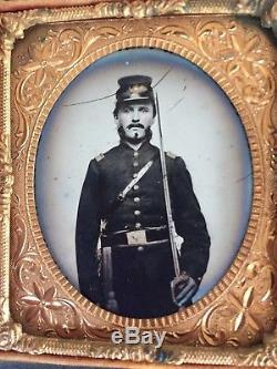 Ambrotype Of Armed Civil War Officer