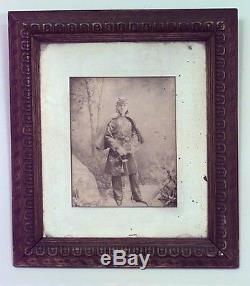 American Victorian Walnut Framed Photograph of Civil War soldier