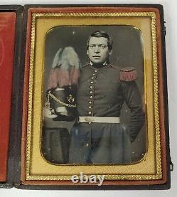 Antebellum Pre Civil War Soldier Plumed Shako 1/4 Plate Cased Daguerreotype VG