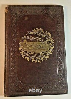 Antique 1862-3 Autograph Album Cazenovia oc Seminary Civil War Era 38 Photos