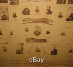 Antique 1866'MIGHT OF THE REPUBLIC' Abraham Lincoln Civil War PHOTO Montage