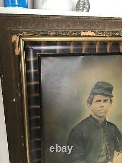 Antique Ambrotype copy to Paper, Civil War Photo Framed