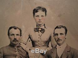 Antique Artistic Beauty CIVIL War Era Brothers In Arms Sister Old Tintype Photo