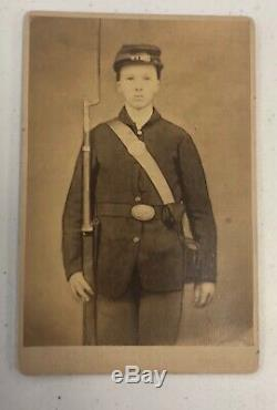 Antique CDV Photo Armed Civil War Soldier Child Teenager William Henry Clark PA