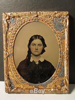 Antique CIVIL War Era Ambrotypes Photos Teen Girl Hidden Man Victorian Hairdo