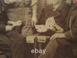 Antique CIVIL War Era Gamblers Dollar Bills Poker Diamonds Tamaqua Pa CDV Photo