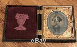 Antique CIVIL War Soldier Pistol / Sword Armed Daguerreotype / Gutta Percha Case