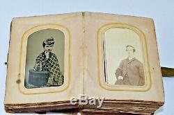 Antique Civil War Era Family Photo Album 35 CDV & TINTYPES Abe Lincoln & Family