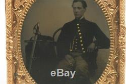 Antique Civil War Era Photo 1/6 Tintype Soldier Sitting With Rifle & Sword Belt