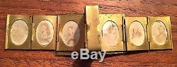 Antique Civil War Era Photographs Folding Book Locket Travel 12 Gem Photos